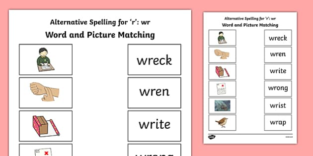 Wr Grapheme Phase 5 Alternative Spellings Word and Picture Matching Activity Sheet, worksheet