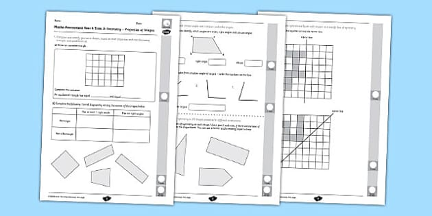 Year 4 Maths Assessment: Geometry - Properties of Shapes Term 3 - year 4, maths, assessment, geometry