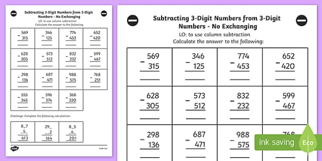 Subtracting 3 Digit Numbers from 3 Digit Numbers Worksheet Year 3
