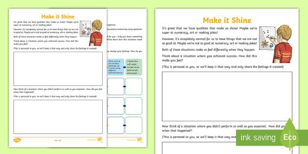 Make it Shine Activity Sheet - PDMU Razzle Dazzle Celebrating Myself Year 7,worksheet,work sheet,worksheets, work sheets