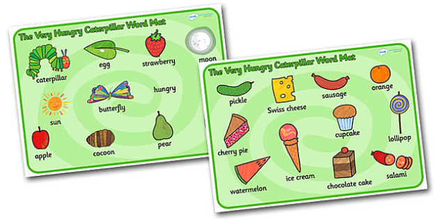 Word Mat (Images) to Support Teaching on The Very Hungry Caterpillar - The Very Hungry Caterpillar,  Eric Carle, resources, Hungry Caterpillar, life cycle of a butterfly, days of the week, food, fruit, story, story book, story book resources, story s