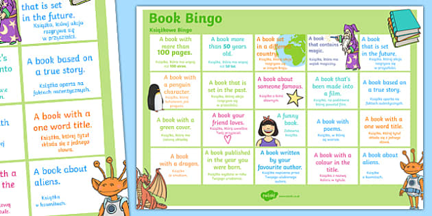 Book Bingo A3 Display Poster Polish Translation - polish, reading, literacy, game, library, ks2, display, classroom, english