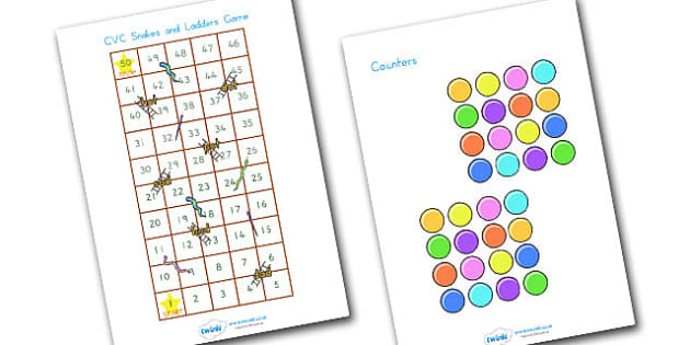 Snakes And Ladders CVC 1 50 - CVC, CVC words, word games, games