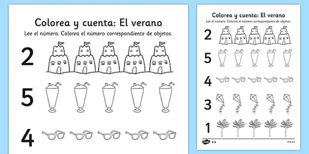 Colorea y cuenta: El verano Summer Themed Count and Colour Sheet Spanish - spanish, colour, count, summer