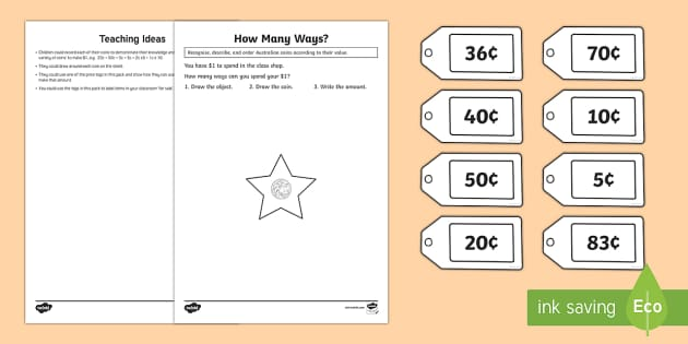 Recognise, Describe and Use Australian Money Activity Sheet - Recognise, describe, order, Australian coins to the value of $1, spend, buy, amount, worksheet, Aust