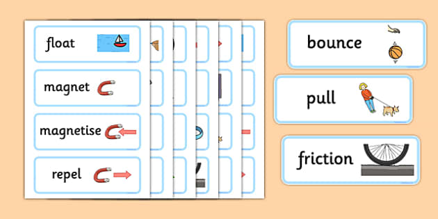 Forces and Motion Word Cards - Force, word card, card, flashcards, Movement, display, banner, sign, force, forces, gravity, push, pull, Magnet, friction, science, knowledge and understanding of the world