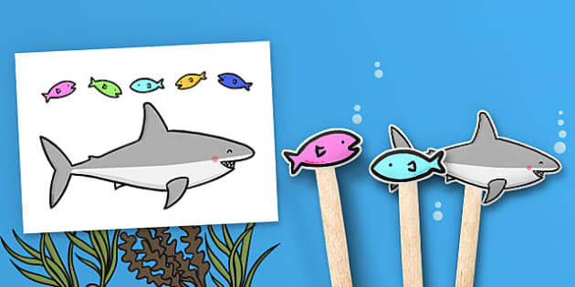 Five Little Fishes Rhyme Stick Puppets - five, fishes, rhyme