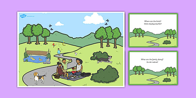 Park Scene and Question Cards Polish Translation - polish, park, scene, question, cards