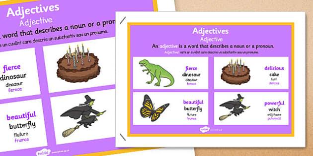 Adjective Display Poster Romanian Translation - romanian, adjective display, poster, display poster