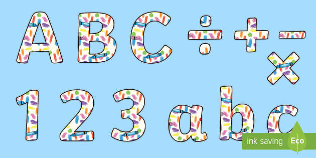 Colorful Crayons Display Letters and Numbers Pack - Classroom Display Packs, numbers, letters, punctuation