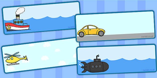 Transport Themed Drawer Peg Name Labels - transport, labels, sign