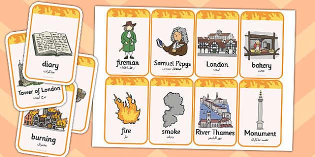 The Great Fire of London Flashcards Arabic Translation - arabic