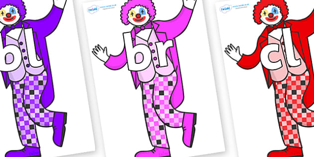 Initial Letter Blends on Clowns - Initial Letters, initial letter, letter blend, letter blends, consonant, consonants, digraph, trigraph, literacy, alphabet, letters, foundation stage literacy
