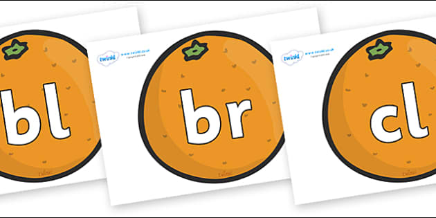 Initial Letter Blends on Oranges - Initial Letters, initial letter, letter blend, letter blends, consonant, consonants, digraph, trigraph, literacy, alphabet, letters, foundation stage literacy