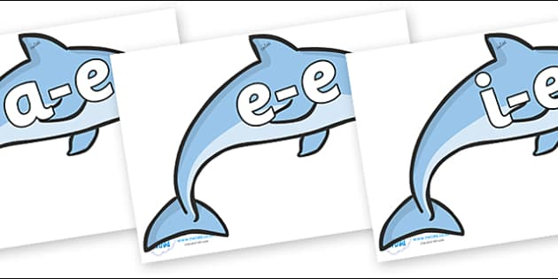 Modifying E Letters on Dolphins - Modifying E, letters, modify, Phase 5, Phase five, alternative spellings for phonemes, DfES letters and Sounds