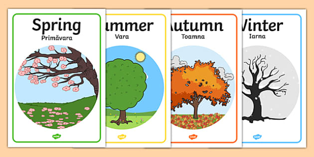 Four Seasons Posters A4 Romanian Translation - romanian, Seasons, season, autumn, winter, spring, summer, fall, seasons activity, seasons display, four seasons, foundation stage, topic