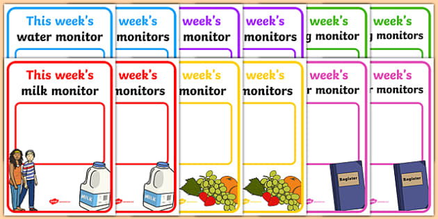 Classroom Monitor Display Signs (Weekly) - Monitor, weekly job signs, monitors, classroom monitors, pupil jobs, helpers, Teaching Labels