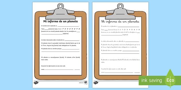 Ficha de actividad: Mi informe de un planeta  - buscar en internet, informe, información,Spanish