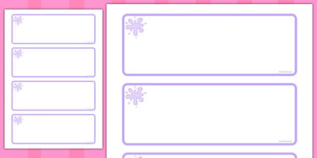 Lilac Themed Editable Drawer-Peg-Name Labels (Blank) - Themed Classroom Label Templates, Resource Labels, Name Labels, Editable Labels, Drawer Labels, Coat Peg Labels, Peg Label, KS1 Labels, Foundation Labels, Foundation Stage Labels, Teaching Labels