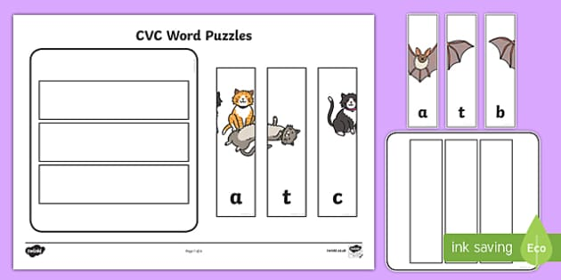 Workstation Pack:  CVC (a) Words Puzzles Activity Pack