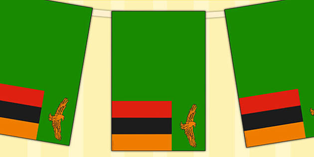 Zambia Flag Display Bunting - country, geography, commonwealth