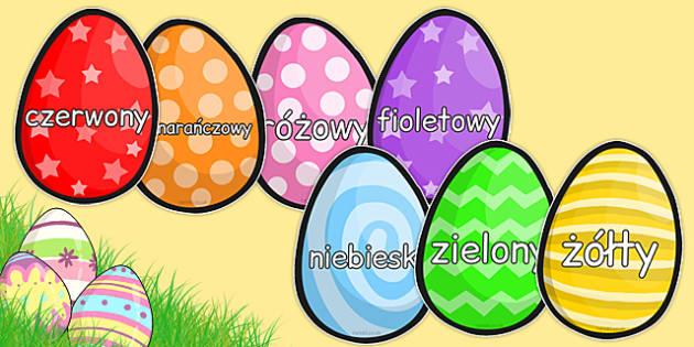 Nazwy kolorów na pisankach po polsku - kolory, wielkanoc