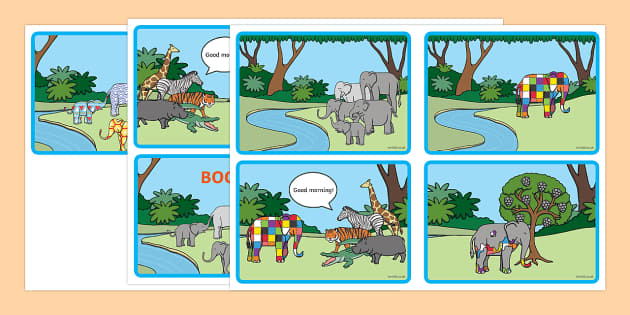 Story Sequencing (4 per A4) to Support Teaching on Elmer - Elmer, Elmer the elephant, resources, Elmer story, patchwork elephant, PSHE, PSE, David McKee, colours, patterns, story, story book, story book resources, story sequencing, story resources, s