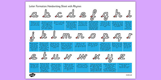 cursive letter formation handwriting sheet with rhymes letter formation handwriting cursive sheet