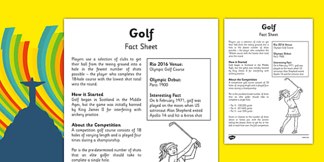 Rio 2016 Olympics Golf Fact Sheet - rio 2016, 2016 olympics, rio olympics, golf, fact sheet