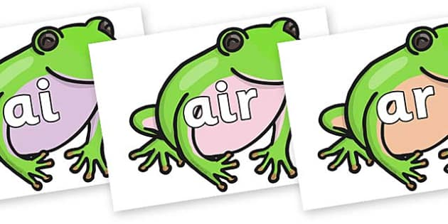 Phase 3 Phonemes on Green Tree Frog - Phonemes, phoneme, Phase 3, Phase three, Foundation, Literacy, Letters and Sounds, DfES, display