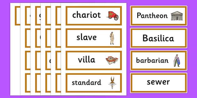 Roman Empire Topic Word Cards - Romans, Rome, Roman Empire, word card, flashcards, cards, colosseum, pantheon, Julius Caesar, emperor, gladiator, amphitheatre