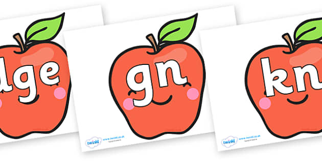 Silent Letters on Cute Smiley Apple - Silent Letters, silent letter, letter blend, consonant, consonants, digraph, trigraph, A-Z letters, literacy, alphabet, letters, alternative sounds