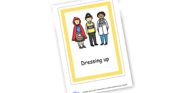 Dressing up Label - Role Play Area Primary Resources, signs, area, zones, banner