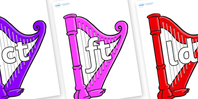Final Letter Blends on Harps - Final Letters, final letter, letter blend, letter blends, consonant, consonants, digraph, trigraph, literacy, alphabet, letters, foundation stage literacy