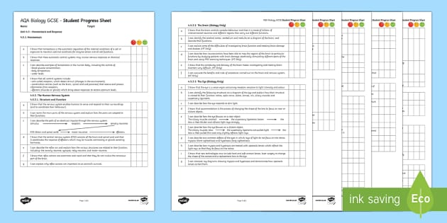 AQA Biology Unit 4.5 Homeostasis and Response Student Progress Sheet - Student Progress Sheets, AQA, RAG sheet, Unit 4.5 Homeostasis and Response