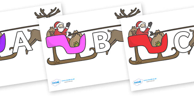 A-Z Alphabet on Sleighs - A-Z, A4, display, Alphabet frieze, Display letters, Letter posters, A-Z letters, Alphabet flashcards