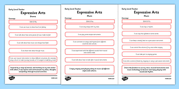 CfE Expressive Arts (Music) Early Level Child-Friendly Tracking-Scottish