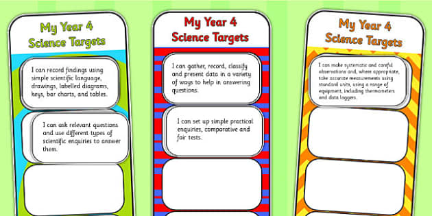 2014 Curriculum Year 4 Science Assessment Bookmarks and Cut Outs