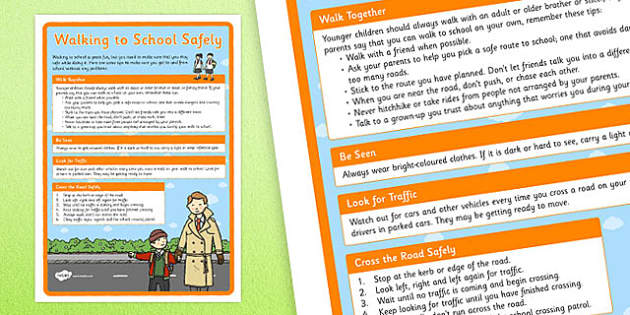 Walking to School Safely Display Poster - walking to school, safe, display poster, display, poster