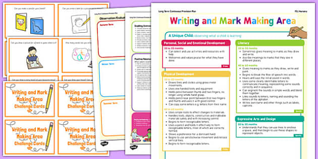 Writing and Mark Making Area Continuous Provision Plan Poster and Challenge Cards Pack Nursery FS1
