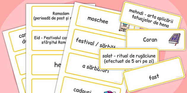 Despre Islam - Cartonașe cu imagini și cuvinte - despre Islam, Islam, cartonașe, moschee, țări, lume, tradiții, obiceiuri, materiale, materiale didactice, română, romana, material, material didactic
