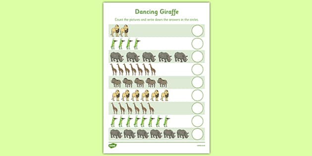 Dancing Giraffe Themed Counting Sheet - Giraffes Can't Dance, counting, numbers, jungle, EYFS