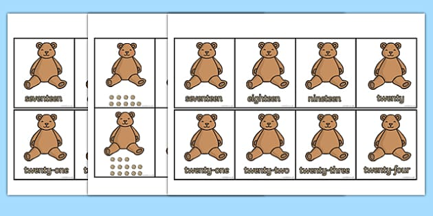 Teddy Bear Number Ordering Cards - Number order, number ordering, ordering, teddy bear, flashcards, numbers 0-20, sorting, large, small, number, number word, counting