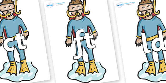 Final Letter Blends on Divers - Final Letters, final letter, letter blend, letter blends, consonant, consonants, digraph, trigraph, literacy, alphabet, letters, foundation stage literacy