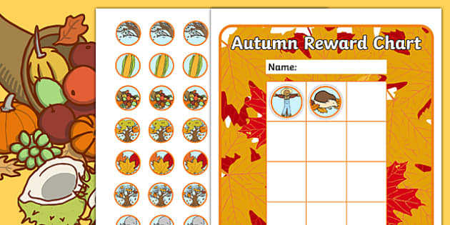 Autumn Sticker Reward Chart 30mm - autumn, sticker, reward chart, rewards, autumn stickers, reward stickers, autumn reward chart, awards, seasons