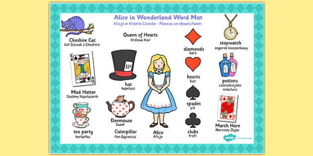 Alice in Wonderland Word Mat Polish Translation - polish, words, literacy, visual aids