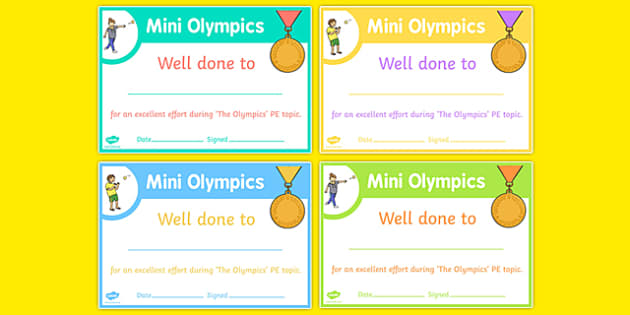 Mini Olympics Achievement Certificates - EYFS, PE, Physical Development