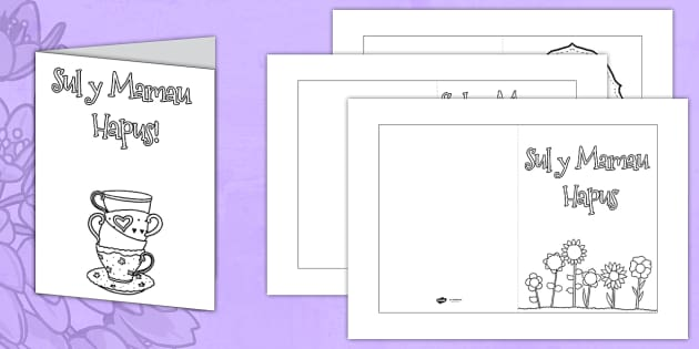 Welsh Mother's Day Card Colouring Templates - mothers day, card