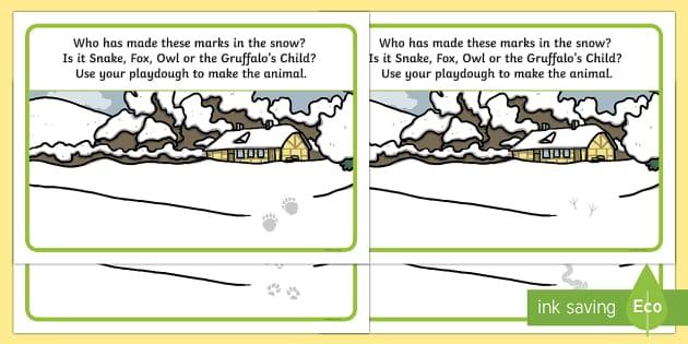 Paw Prints in the Snow Playdough Mats - The Gruffalo's Child, Julia Donaldson, winter, snow, paw, prints, Gruffalo, Axel Scheffler, playdou