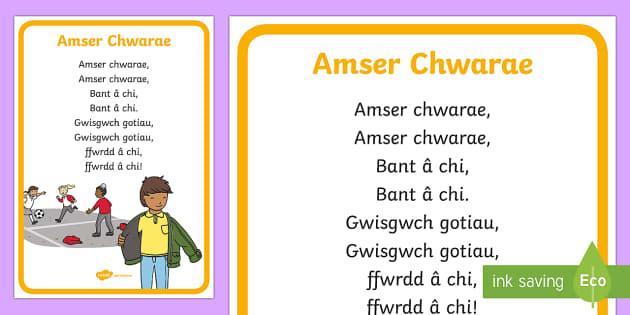 Geiriau Hwiangerdd Amser Chwarae - Welsh Second Language Songs and Rhymes,Welsh